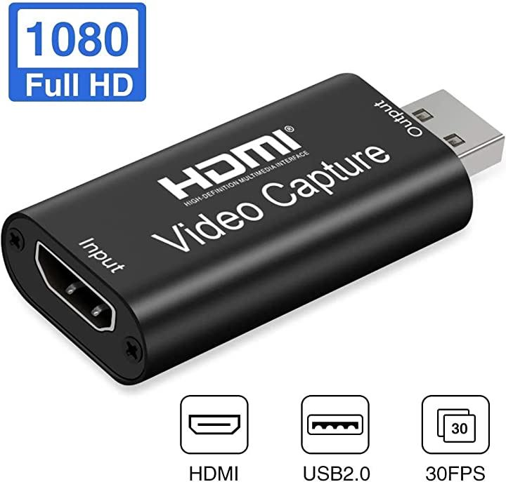 OBEST HDMI キャプチャーボード ビデオキャプチャーボード ゲームキャプチャ 超小型 USB2.0対応 1080p30Hz ゲーム実況生配信、画面共有、録画、ライブ会議に適用 UVC Video Class規格準拠(Black)