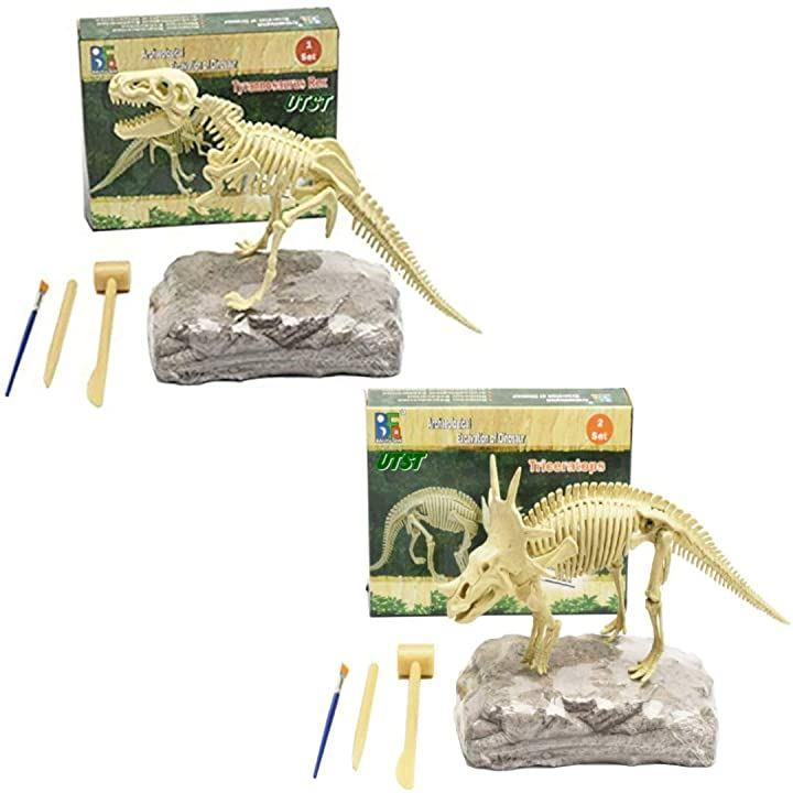 恐竜 化石発掘キット おもちゃ 発見学習セット 2個セット TRex+Styracosaurus