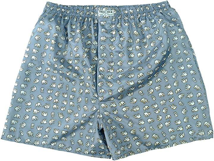 タイシルクトランクス 象柄 肌着 下着 パンツ まとめ買い 4枚セット グレイ XL(グレー, XL)