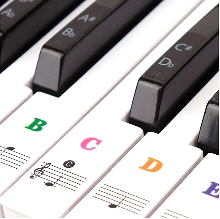 49 / 61 76 88 鍵盤対応 ピアノシール ピアノステッカー キーボード 音符シール 初心者 練習 音符ガイド(カラフル)