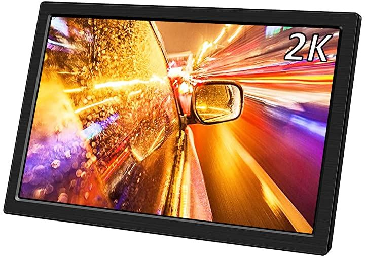 10.1 インチHDMI モバイルモニター 2K 2560x1440//非光沢/薄型/IPSパネル/Mini HDMI/HDR対応/超薄 軽量USB/DC/給電 スタンド付