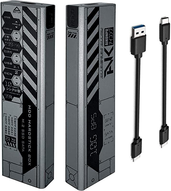 M.2 SSD ケース Type-C to NGFF USB3.1 Gen2 10gbps 外付けケース ドライバー 不要 USB-C 、 Aケーブル付属 アルミ合金製 高放熱性 SSDアダプタ /(Silver, 102x28x12 mm)