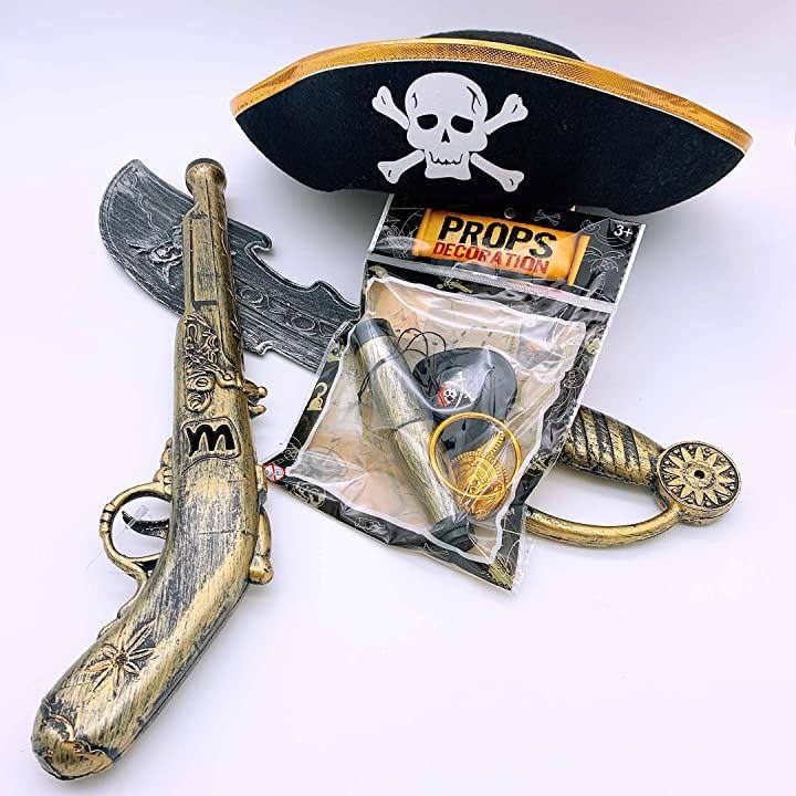 海賊グッズ 帽子 銃 剣 なりきり4点セット コスプレ 子供