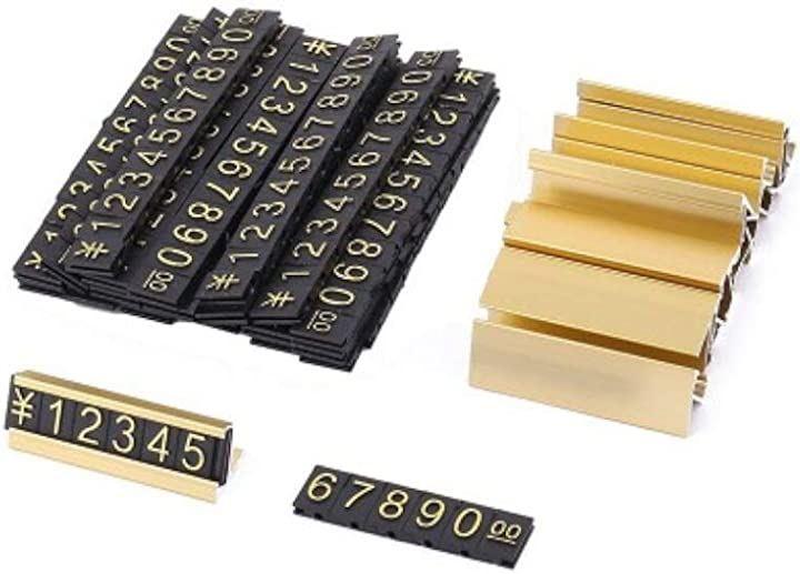 プライスカード セット キューブ 価格表示 ディスプレイ 13個 専用スタンド 19個(ゴールド)