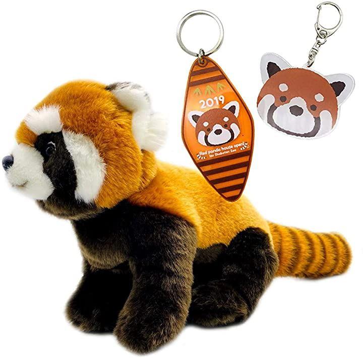 レッサーパンダ ぬいぐるみ & キーホルダー 3点セット 人気 動物 キャラクター(オレンジ)