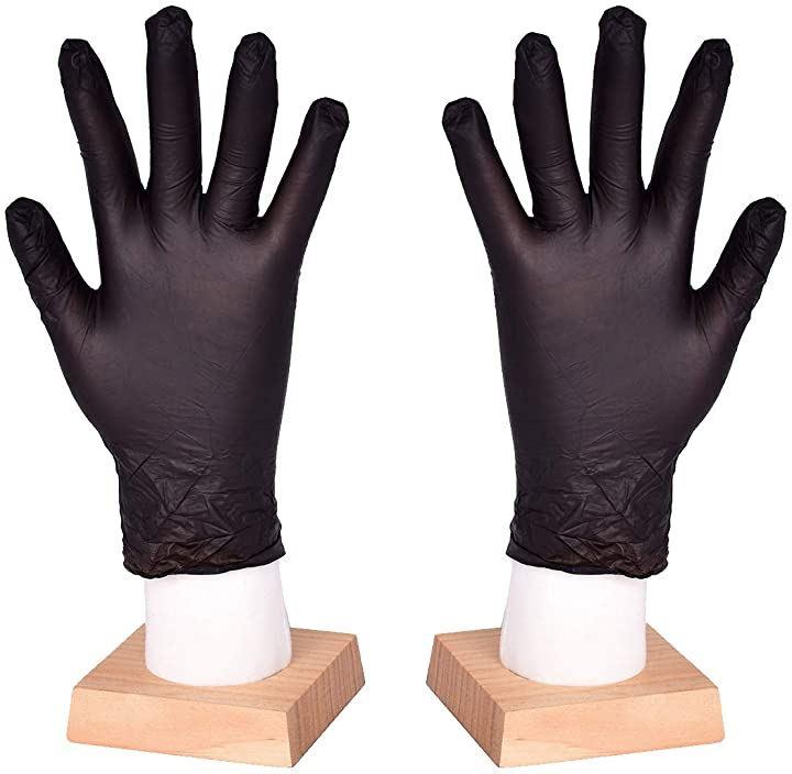 使い捨て手袋 滑りにくい 超弾性 多用途 黒 100枚入 M(M)