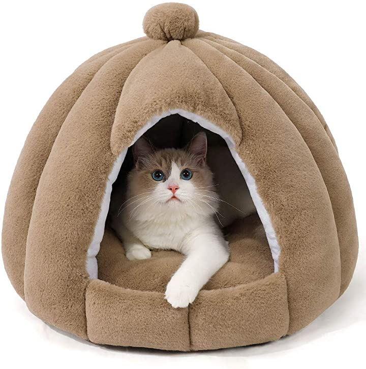 猫ベッド 猫ハウス ペットベッド 柔らかい 猫犬 小型犬 キャットハウス クッション 寝床 ソフトケージ 暖かい(ブラウン)
