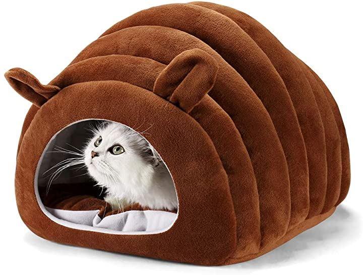 猫ハウス ドーム型 猫ベッド 犬猫用 ペットベッド 暖かい 小型犬用 寝床 ペット用寝袋 キャットハウス(ブラウン-1)