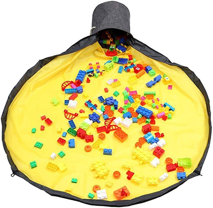おもちゃ 収納マット お片付け簡単 散らかり防止 持ち運び 洗濯可能 子供 ブロック イエロー, B-55(イエロー, 1.5m)