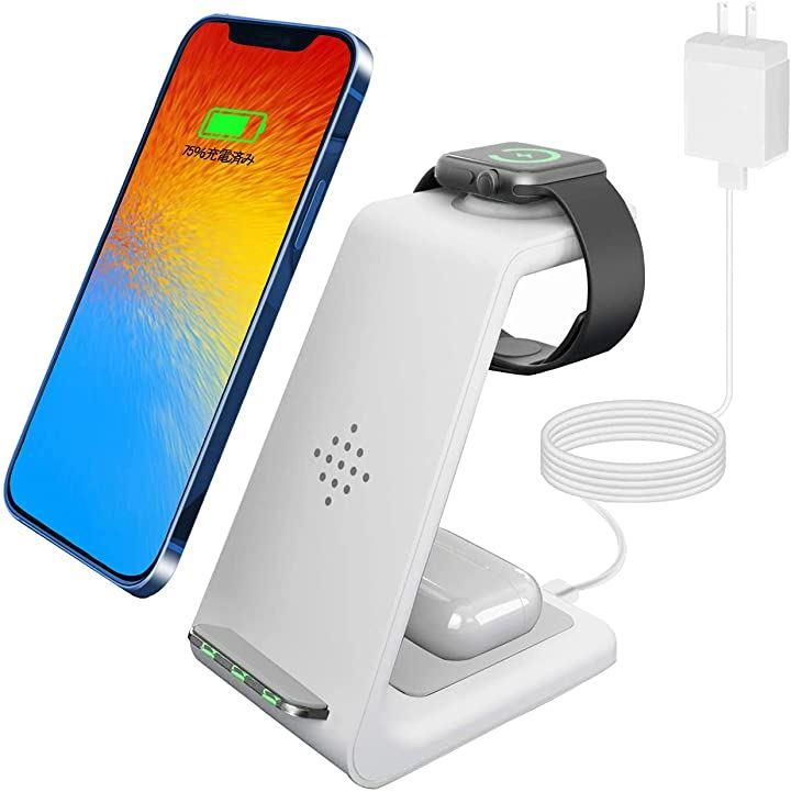 改良版 ワイヤレス充電器 置くだけ充電 Qiスマホ機種全対応 3in1急速充電 Apple Watchスタンド 3.0アダプター付属 白