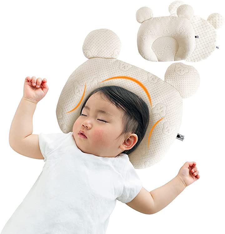 ベビーまくら ベビー枕 替えカバー付き 天然素材100% 新生児~12ヶ月向けbaby pillow