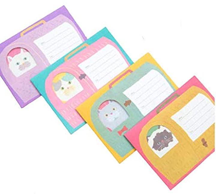 レターセット かわいい ネコ メッセージカード 4種 合計 便箋16枚 + 封筒8枚 キャリー バッグ 手紙 を抱える フワモコ猫 紫 ピンク 緑 黄