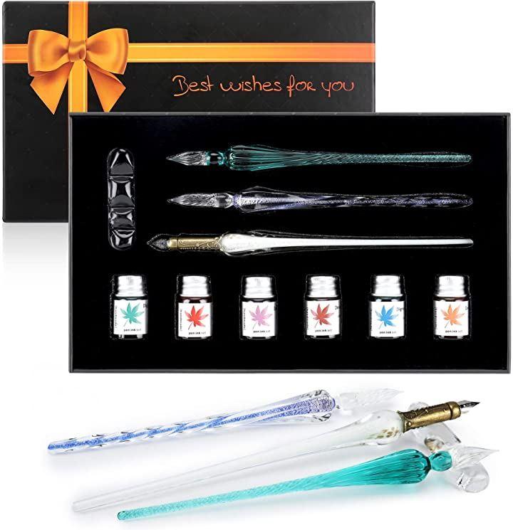 ガラスディップペンインクボトルセット レインボークリスタルガラスペン アート ライティング 装飾用 描画ペン ペン本体x3+インク6本 万年筆