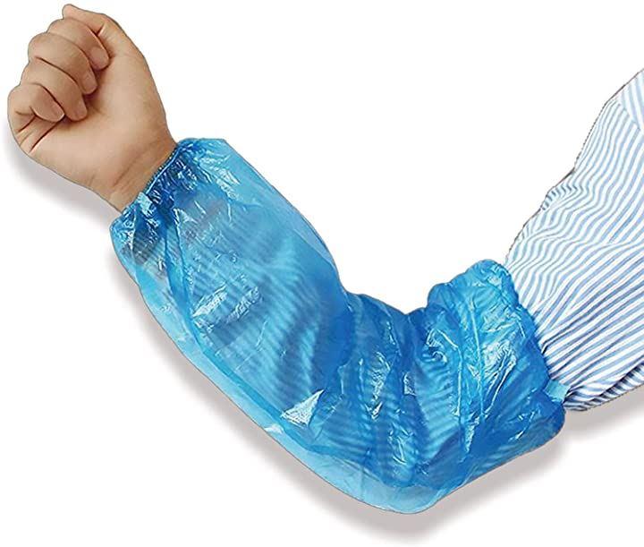使い捨て アーム カバー 防水 カワイイ 袖口 腕用 防水カバー 手袋 ゴム手袋 掃除 防塵 作業 家事用 料理(ブルー, サイズ幅22センチ長さ40cm)