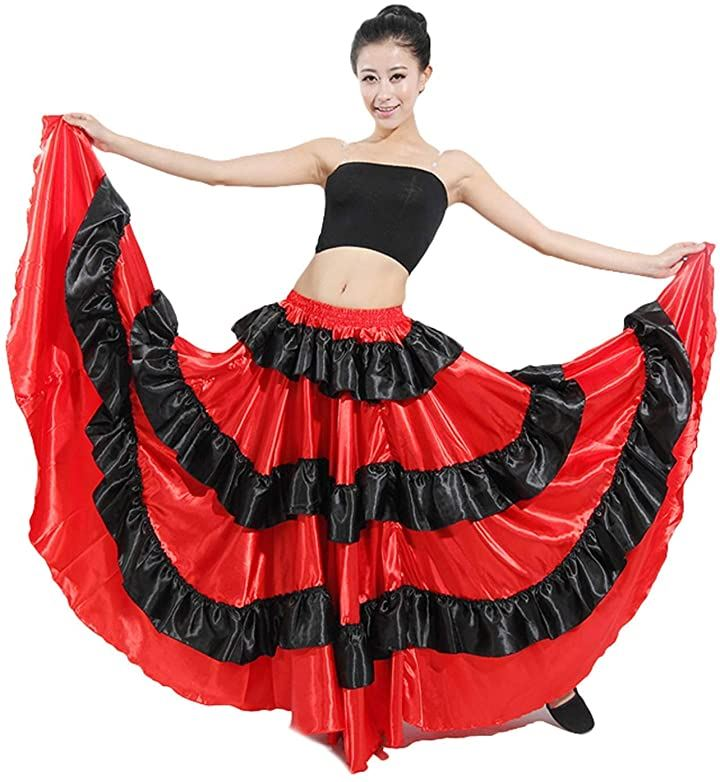 フラメンコ スカート コスチューム ベリーダンス服 ドレス ラテン衣装 円形スカート レディース 発表会 540°(レッド, 540°)