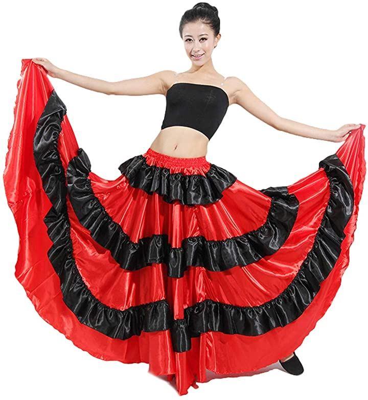 フラメンコ スカート コスチューム ベリーダンス服 ドレス ラテン衣装 円形スカート レディース 発表会 720°(レッド, 720°)