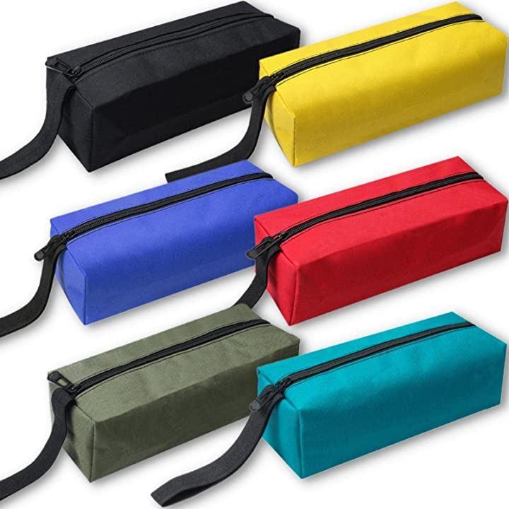 工具袋 6色セット 工具入れ ツールバッグ 小型 ペンケース 小物入れ オックスフォード地(6色セット(黒、黄、青、赤、緑、ターコイズ))