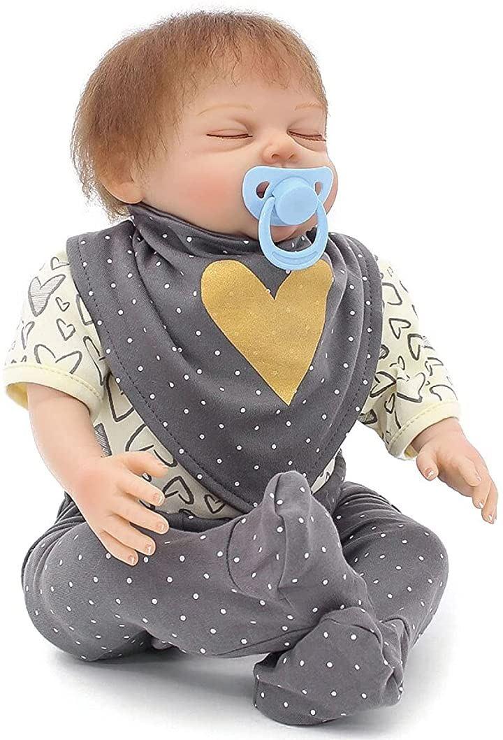 morytrade リボーン ドール 人形 赤ちゃん ベビー 乳児 新生児 リアル 45cm 1.3kg グレー(グレー)