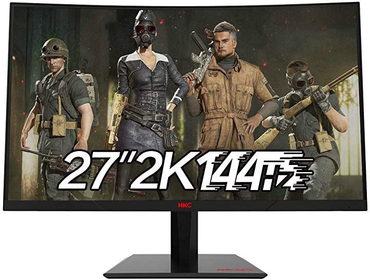 27インチ VA 2560x1440 144HZ HD ゲーミング 1800R湾曲 スクリーン ブルーライトフリッカースクリーンなしコンピューター SG27QC(黒, 27インチ144Hz)