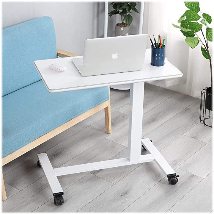サイドテーブル 昇降式 幅78cm キャスター 無段階高さ調節 ベッドテーブル ホワイト(White)