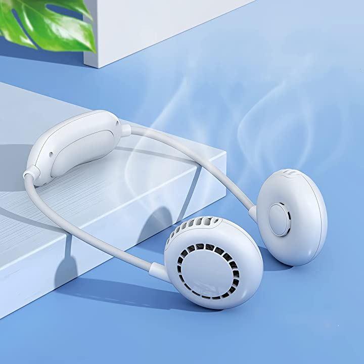 首掛け扇風機 携帯扇風機 ネッククーラー 羽根なし 2000mAh超大容量 USB充電式 軽量 卓上 ポータブル くびかけ扇風機 ネックファン ハンズフリー ホワイト(ホワイト, 首掛け式)