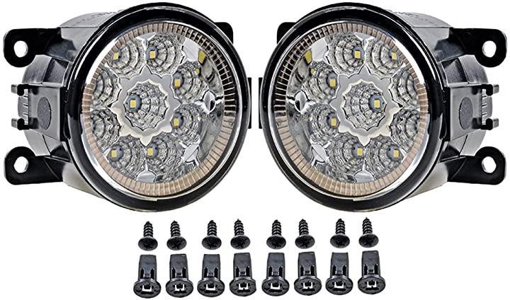 人気車種対応 バルカン型 フォグランプ ガラスレンズ 左右セット 6500k COB型LED搭載 社外品 車検対応(白色(6500k))