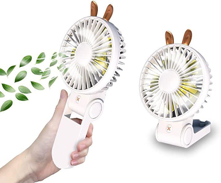 携帯扇風機 折りたたみ式 270°調整 手持ち/首掛け/卓上3用 静音 14.5cm 120g 軽量便利強風 小型扇風機 ストラップ付き ホワイト(折りたたみ式)