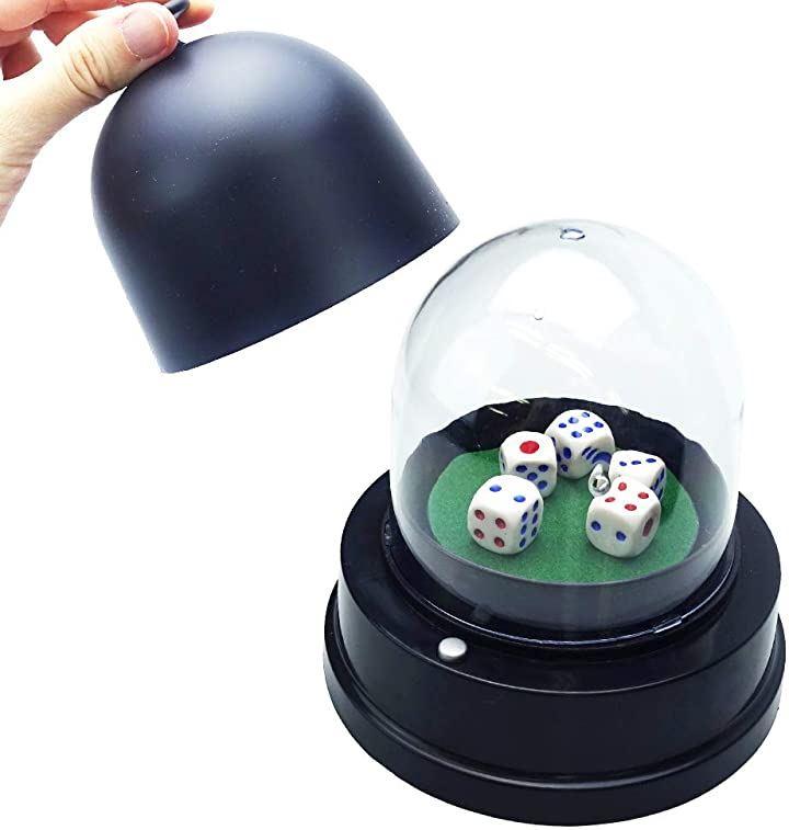 電動ダイスカップ サイコロ振り機 自動 ゲーム イベント パーティー ダイス5個付属(直径10.5cmx11.cm)