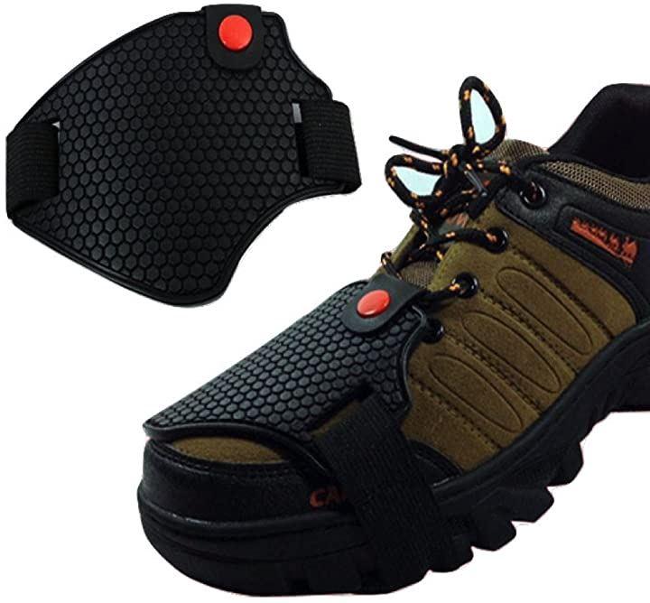 簡単装着 TPU シフトパッド プロテクター 靴ガード 滑らない シフトガード シューズガード フリーサイズ 収納袋付き バイク用品(黒, FREE)