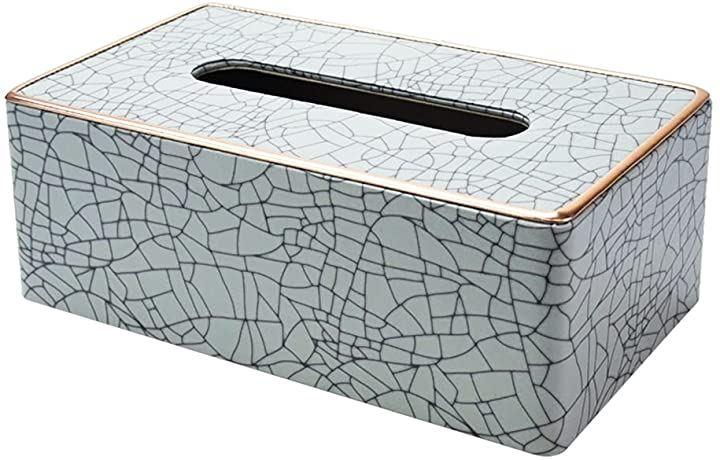 アイスクラック風 ティッシュケース ティッシュボックス 卓上 PUレザー スタイリッシュ インテリア雑貨(25cmx13.5cmx9cm)