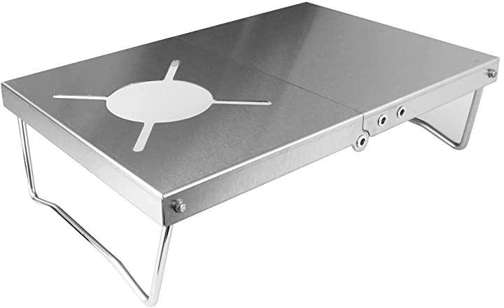 遮熱板テーブル シングルバーナー キャンプ 二つ折り 収納袋付き 軽量設計 一台多役 持ち運び便利
