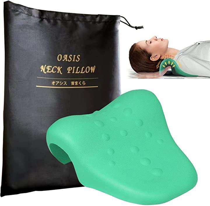 Forceleaf 日本企画 首枕 マッサージ 肩 収納袋付(緑)