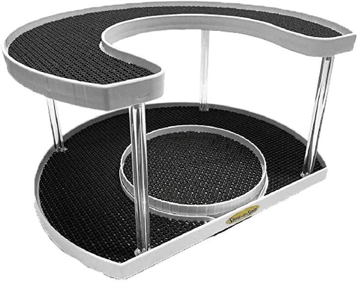 Deluxe 360度 回転式 2段 スパイスラック 調味料入れ 収納ラック ターンテーブル 回転台(ホワイト(白))
