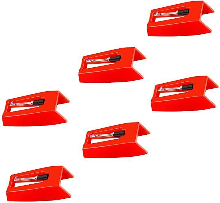 レコードプレーヤー用交換針 6個セット レコード針 交換用レコード針 丸針(レッド)