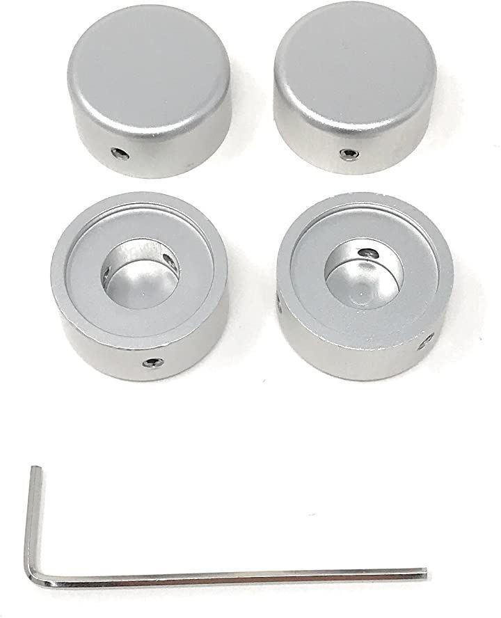 エフェクター用 メタル スイッチハット キャップ シルバー 4個セット(銀)