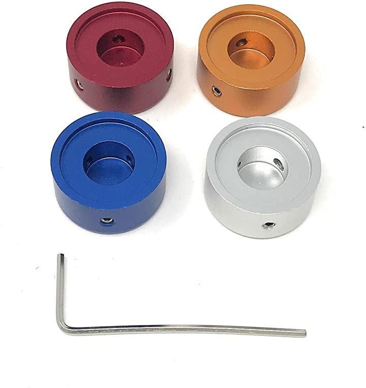 エフェクター用 メタル スイッチハット キャップ 4色セット(銀、赤、オレンジ、青)