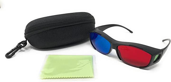 メガネの上からOK 3Dメガネ ハードケース レンズクリーナー付き 映画鑑賞 ゲーム等に(黒、青、赤, フリー)