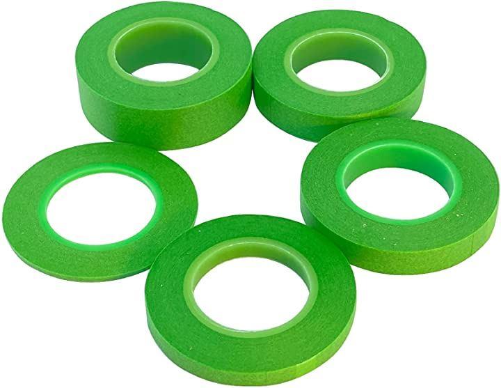 プラモデル 塗装用 マスキングテープ グリーン 5本セット 2mm 6mm 10mm 12mm 18mm ホビー用 視認性が高い