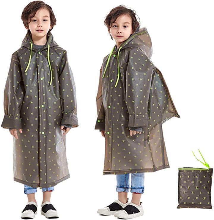 レインコート 雨具 キッズ 子供用 女の子 男の子 ランドセル 透明フード付き 収納袋 ブラック&グリーン,(ブラック&グリーン, L)