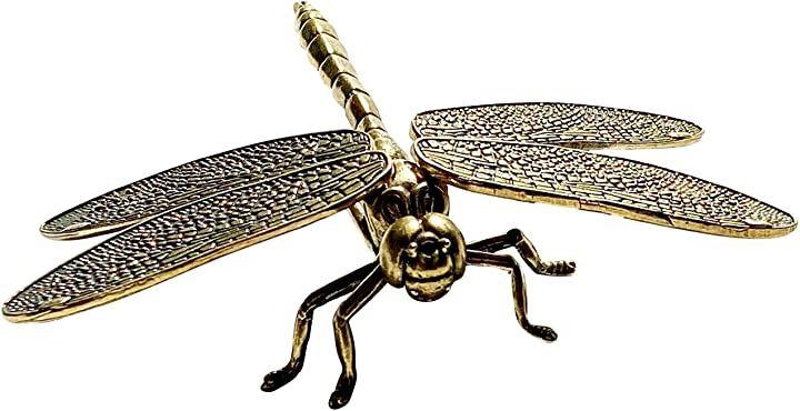 置物 オーナメント とんぼ トンボ 蜻蛉 真鍮 ブラス 鋳物 鎧や兜のモチーフ 益虫 飛ぶ棒(シルバー)