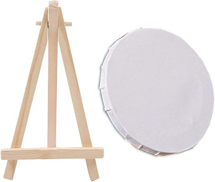 キャンバス 絵画 イーゼル 水彩 油絵 画材 アクリル画 絵画ボード 円形 ミニキャンバス 直径15cm(5枚セット)