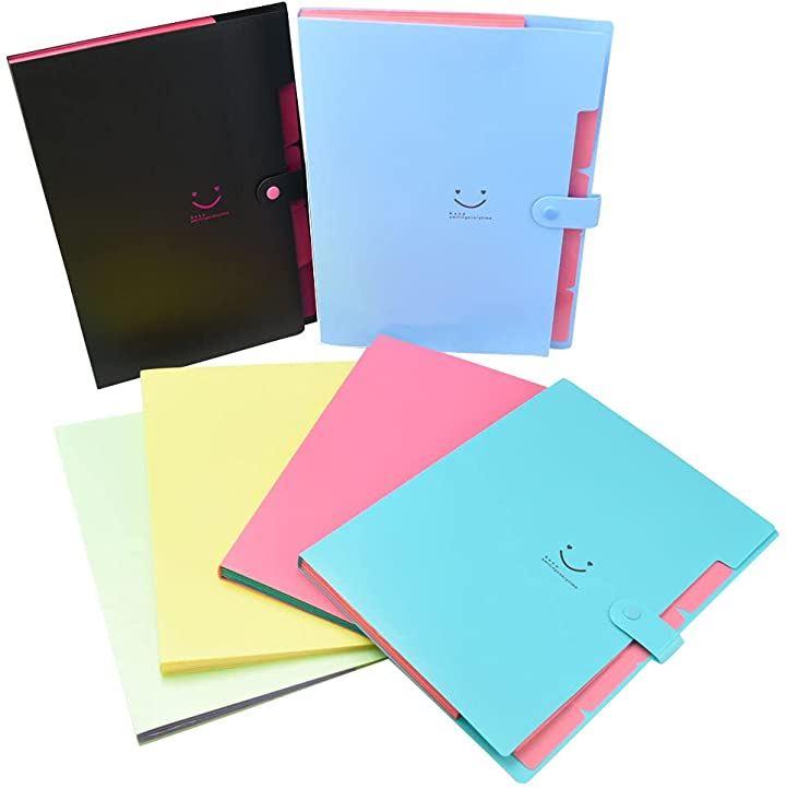 拡張ファイル ケース A4 アコーディオン型 書類の整理 仕分け 学校 オフィス プレゼン 6色セット(縦:32cm 横:23.5cm(中央のボタン部分:24.5cm)*A4サイズ対応)