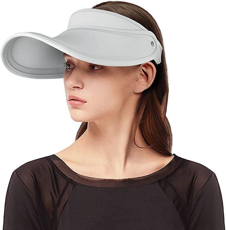 帽子 レディース UVカット帽子 ビーチハット つば広 ビーチ日除け(グレー, Free Size)